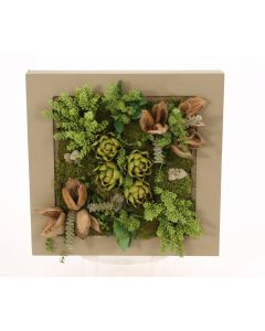 Square Wooden Box with Succulents and Artichokes