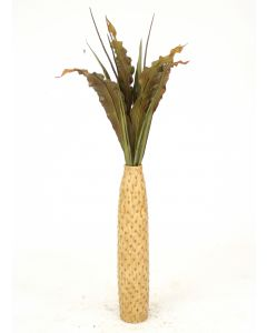 Green-Brown Tropical Leaves, Seeded Branches in Cork-Finish Floor Vase