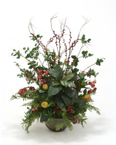 Mixed Berries, Cherry and Pear Sprays with Magnolia, Bougainvillea, Cedar, Podcarpus in Glass Bowl without Stand