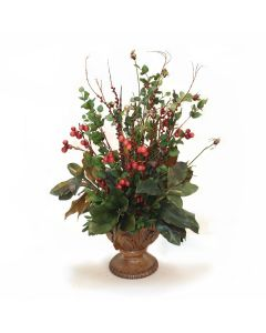 Fruit Sprays, Magnolias and Foliage in Walnut Leaf Urn