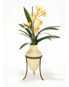 Champagne Cymbidium Orchids in Etruscan Vase and Metal Stand