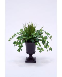 Mini Ivy and Grass in Small Metal Urn
