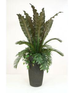 Tropical Foliage in Tall Fiberglass Planter
