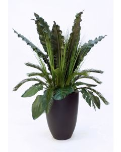 Tropical Foliage in A Tall Black Fiberglass Planter