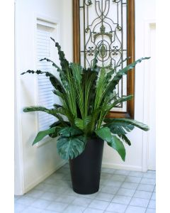 Tropical Foliage and Grass in A Black Tapered Rattan Floor Planter