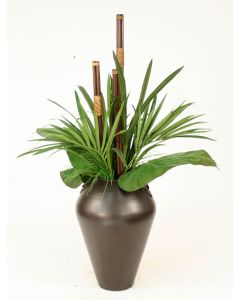 Tropical Leaves in Bronze Metal Vase with Leather-Wrapped Rattan Stalks