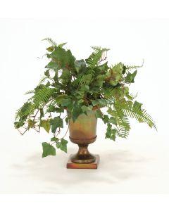 Mountain Ivy, Fern in Metal Urn