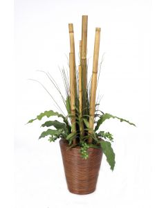 Bamboo Poles, Tropical Leaves, Grass in Tapered Pencil Rattan Planter