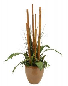 Tropical Foliage with Bamboo Poles in Glazed Mocha Stoneware Planter