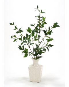 Laurel Branches in White Kira Vase