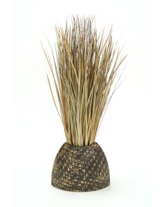 Tan-Brown Bear Grass in Woven Bamboo Textured Vase