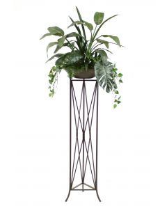 Tropical Foliage in Stone Finish Bowl in Isosceles Plant Stand