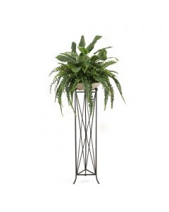 Mixed Greenery with Fern and Bird of Paradise in Bowl with Tall Plant Stand