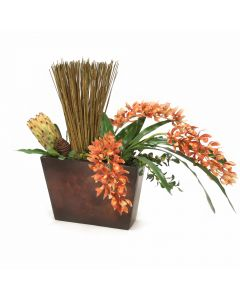 Rust Orchid with Protea and Reeds in Metal Wall Hanging