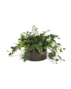 Maiden Hair Fern and Ivy Mix in Verdigris Metal Container