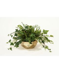 Maiden Hair Fern & Mountain Ivy Greenery in Gold Fusion Bowl