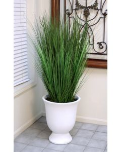 Tall Grass in Chalk White Concrete Urn