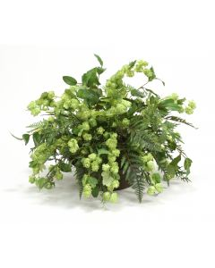 Hops and Mixed Greenery in Round Metal Planter