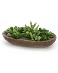 Hen and Chickens With Succulents in Wooden Bowl