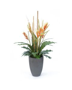 Tropical Foliage and Flowers in Tall Gray Planter