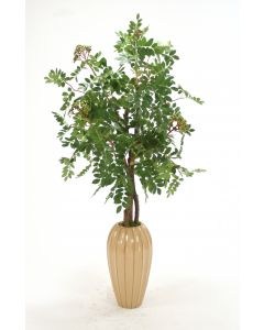 Mountain Ash Floor Plant in Tall Tan Fluted Ceramic Vase