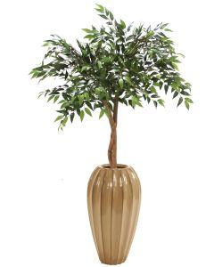 Ruscus Canopy Floor Plant in Ceramic Cylinder Floor Vase