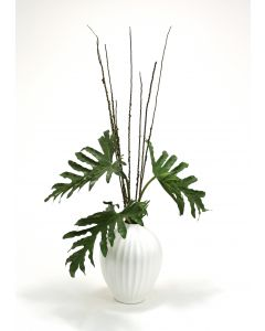 Selloum Philodendron in White Fluted Porcelain Vase