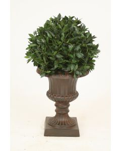***Discontinued***Sweet Bay Single Ball Topiary in Rust Classic Fiberglass Urn