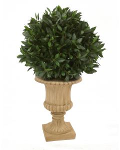 ***Discontinued***Sweet Bay Single Ball Topiary in Tan Classic Urn