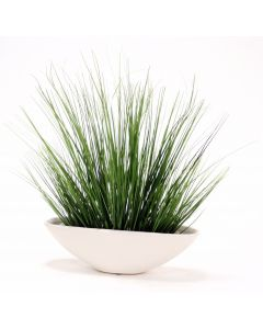 Two Tone Green Grass Mix In White Ceramic Oval Planter