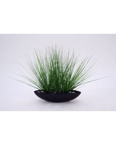 Two-Tone Green Grass in Oval Black Pearl Ceramic Bowl