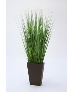 Multi Green Grass Mix In Large Bronze Rectangle Vase