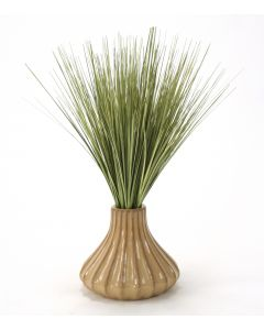 Basil Green Grass In Tan Fluted Ceramic Vase