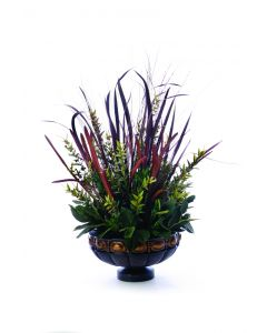 Horsetail W/ Grasses And Foliage In Low Bronze Atlantis Compote