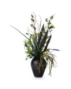 Green Berries, Swedish Ivy & Pittosporum in Brass Planter