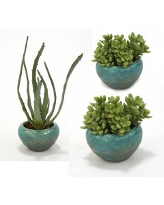Set of 3 Faux Succulents in Antique Turquoise Bowls - 1 Large, 2 Small