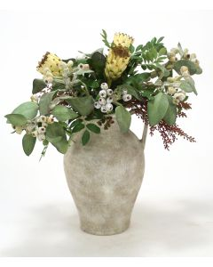Eucalyptus Pods, Berries, Proteas In White-Washed Water Jar W/ Handles