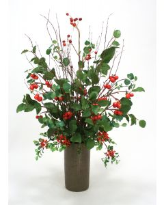 Bay & Elm Foliage With Red Berry Mix In Bronze Cylinder Planter