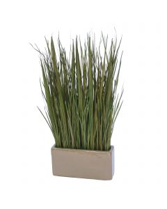 Natural Grass Blades in Rectangle Mocha Planter