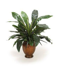 Aspidistra Plant in Gold Leaf Ginger Jar Vase