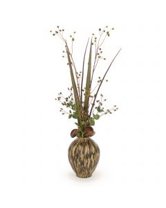 Green Rose Hip with Berry and Natural Blades and Berry in Porcelain Container