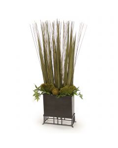 Natural Grass Blades with Maple Branches and Reed and Baxtra and Mushrooms in Wooden Box with Stand
