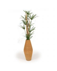 Papyrus Grass with Rattan and Bamboo in Beaded Shell Vase