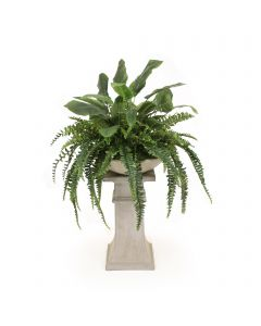 Mixed Greenery with Fern and Bird of Paradise in Bowl with Concrete Pedestal