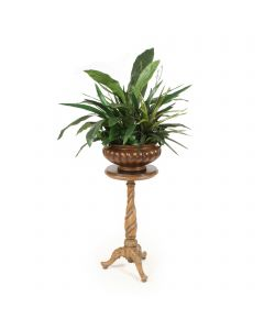 Greenery in Brown Fluted Bowl with Spiral Plant Stand