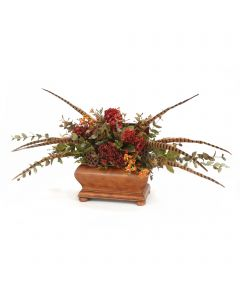 Red Dried Hydrangeas with Feathers and Foliage in Brown Wood Chest