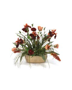 Rich Fall Tones in Tan Ceramic Planter