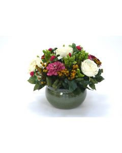 Cream Roses with Clover, Zinnia and Cotton Phylica in A Green Garden Pot