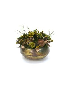 Hydrangea with Phylica, Brunia and Bird Nest in Green Metal Sosa Bowl