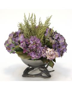 Purple Hydrangea in Black Nickel Bowl with Horns
